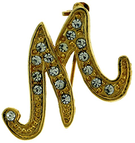 Initial Gold Tone Pin Brooch - 7