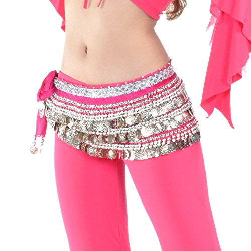 AK-Trading Multi-Row 258 Silver Coins Velvet Belly Dance Hip Scarf - Hot Pink ()