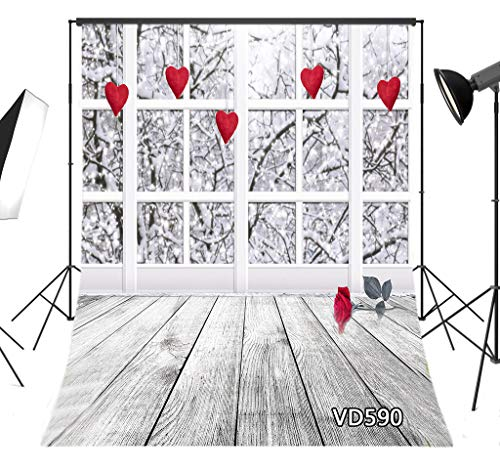 LB 5x7ft Valentines Day Photography Backdrop Rose Flower on Brown Wooden Floor Red Heart Hang on Window Photo Background for Pictures Studio Props Customized VD590 ()