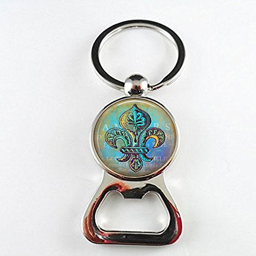 Blue and Green Fleur de Lis Bottle Openers - Blue Hues - New Orleans Bottle Openers - Verdigris Jewelry]()
