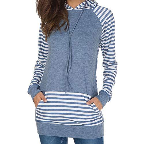 Womens Long Sleeve Sweatshirt,Ladies Stripe Round Neck Hooded T-Shirt Blouse (L, Bule) by Woaills-Dress