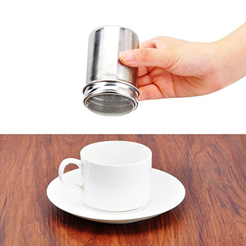 LOHOME Stainless Steel Fancy Coffee Dredger Cocoa Powder Shaker with Fine-mesh Lid & Translucent Plastic Cover for Baking & Cooking At Home / Restaurant (4-Pieces)