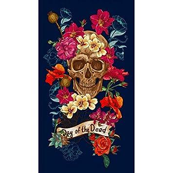 Serviette Plage Tete De Mort.Drap De Plage Tete De Mort Fleurie Nuit Serviette Eponge Velours Imprimee 95x175cm