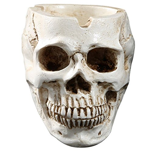 (Wffo Skeleton Head Style Ashtray Resin Simulation Head Model Halloween)