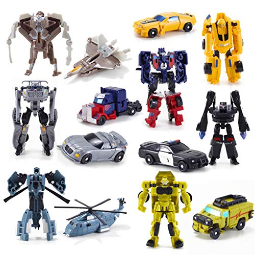 Siyushop 7 Pieces Robot Transformer Action Figure, Robots and Vehicles Play Set, Mini Heroes Rescue Bots Toy, Car Robot Complete Model Set, Car Deformation Robot Toy for 3-12 Years Kids Boys