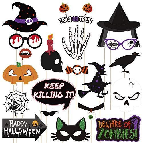 Amosfun 20PCS Halloween Photo Booth Props Selfie Props Creative Happy Halloween Party Decoration Supplies]()