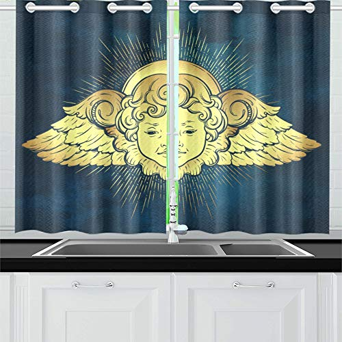 VNASKL Gold Cherub Cute Winged Curly Smiling Kitchen Curtains Window Curtain Tiers for Cafe Bath Laundry Living Room Bedroom 26x39inch ()