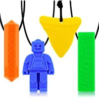 Chew necklaces for sensory kids,Pendant Chewable Jewelry Set for Boys and Girls,Silicone chewlery Oral Motor Sticks for…