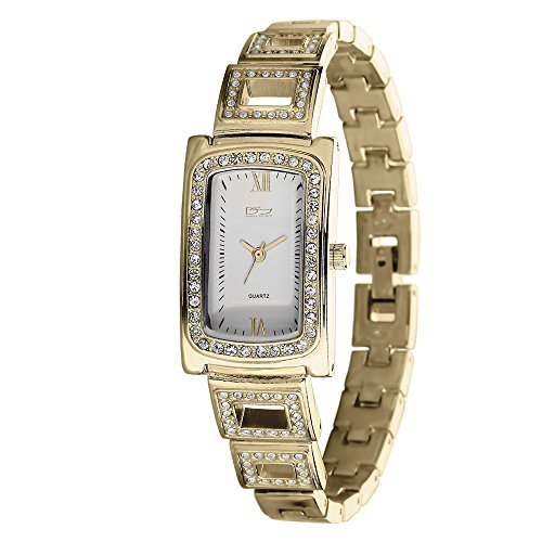 - Daniel Steiger Contessa Luxury 18k Gold Ladies Watch - Water Resistant - Stunning Crystal Encrusted Bezel - 18k Gold Fused Case