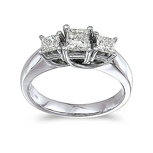 14kt White Gold 3 Stone Princess Cut 1.00ct Diamond Trellis - Cut Ring Trellis Diamond