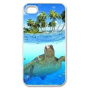LIULAOSHI Cute Sea Turtle Phone Case for iphone4 White [Pattern-1] by runtopwell