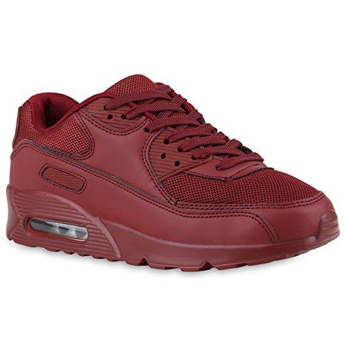 Stiefelparadies Damen Sportschuhe Modische Laufschuhe Sneakers Low Runners Trainers Leder-Optik Stoffmix Schuhe Profilsohle Bunte Freizeitschuhe Flandell Dunkelrot Camiri