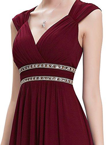 Ever Burgundy Damen Abendkleid Pretty 08697 V Elegant Ärmellos Ausschnitt Lang 44Sqr7