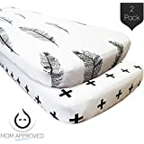 Kaydee Baby Fitted Crib Sheets - 2 Pack Modern (Plus and Feather) - 100% Soft Cotton Crib Mattress Sheet - Bedding Gift Set For Boys and For Girls
