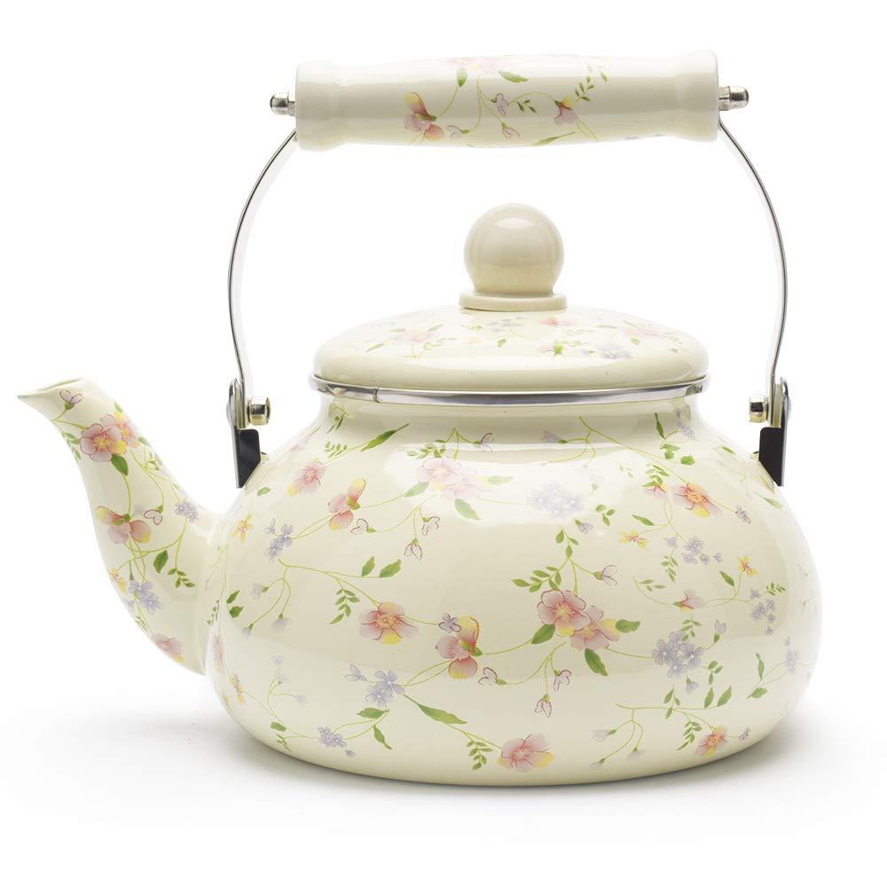 Enamel on Steel Tea Kettle, Porcelain Enameled Teapot, Halogen Induction Cooker Coffee Pot for Stovetop Retro Classic Design 2.5Qt Capacity by Alistar99 (Image #1)