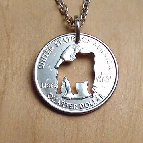 English Bulldog Necklace Pendant or Key Ring Cut in a Quarter ()