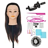"ViogrIA 22"" Loog Hair Mannequin head Practice Training Head Cosmetology Mannequin Head Manikin Doll Head with Clamp & Braiding Tool"