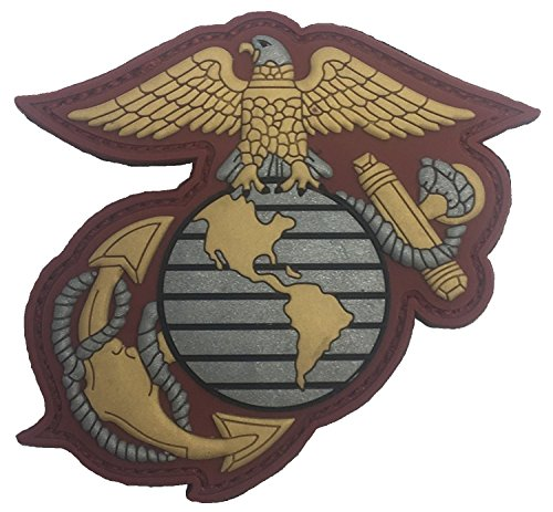SILVER-GOLD-CRIMSON US MARINE CORPS EAGLE GLOBE & ANCHOR PVC PATCH (Large Marine Patch Corps)