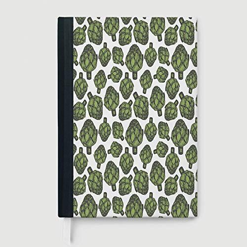 Hardcover,Artichoke,Detailed Drawing of Super Foods Fresh Vitamin Sources Natural Nutrition Source,96 Ruled Sheets,B5/7.99x10.02 in