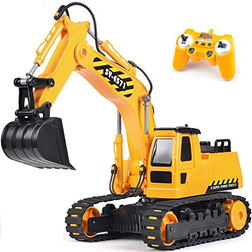 DOUBLE E Remote Control Excavator Toy Truck 1/26 with Rechargeable Battery Simulated Sounds 2.4GHz Construction Vehicles Truck