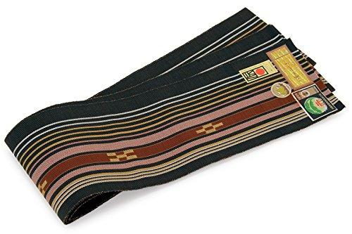 区別する辞任する時代半幅帯 未仕立て 八重山みんさー 黒 赤 縞 五の絣柄 四つ絣柄 綿 手織り 琉球帯 石垣島 日本製