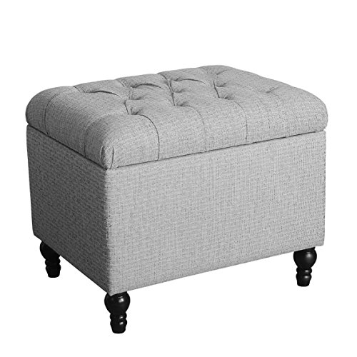 - HomePop Upholstered Button Tufted Storage Ottoman with Hinged Lid, Grey