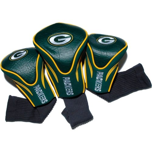 Team Golf NFL Green Bay Packers Contour Golf Club Headcovers (3 Count), Numbered 1, 3, & X, Fits Oversized Drivers, Utility, Rescue & Fairway Clubs, Velour lined for Extra Club - Headcovers 3 Pack Sock