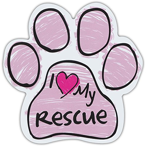 (Pink Scribble Paws: I LOVE MY RESCUE | Dog Paw Shaped Car Magnets)