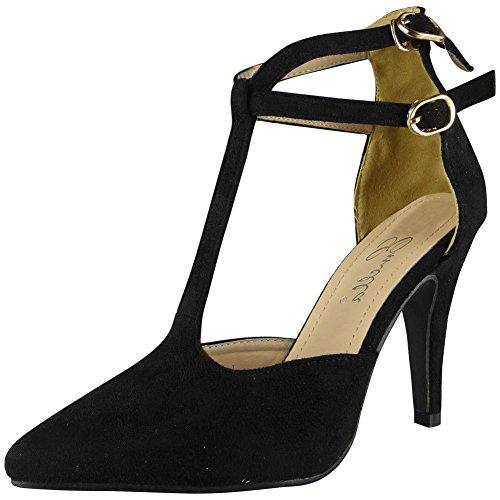 Regarder Haut Nouvelles Femmes Dames Mariage Moulantes Haut Pointu Chaussures De Soirée De Travail De Bureau Talon Taille 3-8 Noir