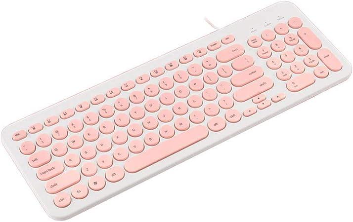 Veeki - Teclado con cable, compacto USB, teclado ergonómico silencioso, funciona con Mac y PC, Windows 10/8/7/Vista/XP (rosa)