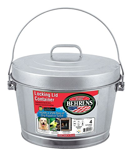 Behrens Manufacturing 6104 Galvanized Steel Locking Lid Can, 4 gal (Lid Pail)
