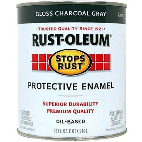 Oleum Rust Gloss (Rust-Oleum 7784502 Stops Rust, 32 oz. Quart, Gloss Charcoal Gray)