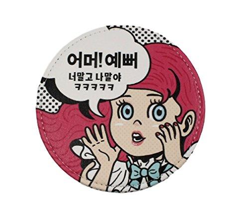 (Pop Art Funny Sassy Quote in Korean Language Txt Designer Handed Mirror Dot)