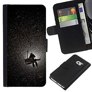 For Samsung Galaxy S6 EDGE Case , Mountain Moon Lift Snow Winter - la tarjeta de Crédito Slots PU Funda de cuero Monedero caso cubierta de piel