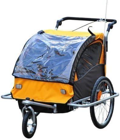 Remolque de Bicicleta para Niños 2 PLAZAS Cochecito con ...