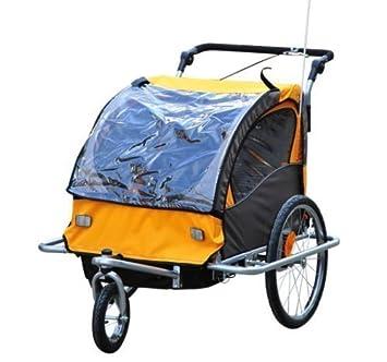 Remolque de Bicicleta para Niños 2 PLAZAS Cochecito con Amortiguadores CON BARRA INCLUIDA Kit de Footing Rueda Giratoria 360° NARANJA: Amazon.es: Bebé