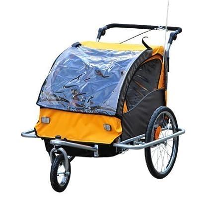 Remolque de Bicicleta para Niños 2 PLAZAS Cochecito con Amortiguadores CON BARRA INCLUIDA Kit de Footing