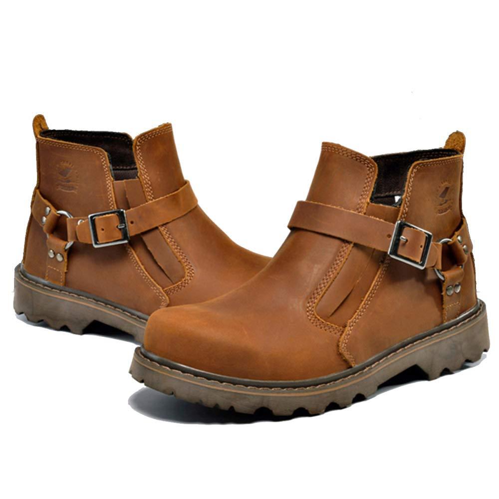 GZZ Schuhe Herren Stiefel Martin Outdoor Retro Wandern Werkzeug Stiefel Leder Stiefel Werkzeug Herbst Und Winter Rutschfeste Mode,rotdish-braun-43 77bcb8