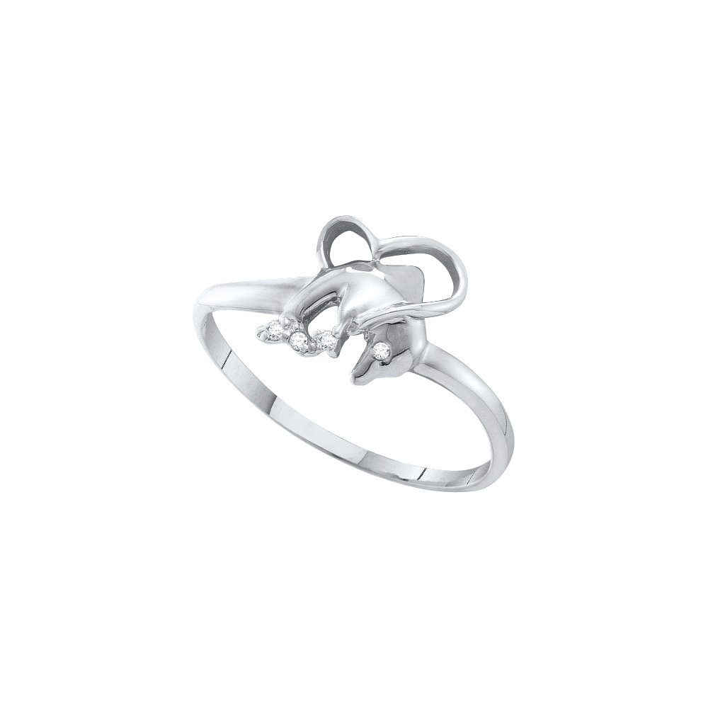 10kt White gold Womens Round Diamondaccent Dolphin Heart Ring .02 Cttw
