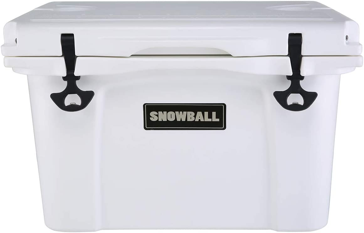 Snowball Coolers, Rotomolded Insulation Ice Chest for Camping, Fishing, Hunting, BBQs Outdoor Activities, White, 37QT 35L
