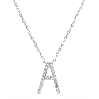 0a7d4dac97022 Diamond Initial Pendant Necklace in 14K White Gold on a 14K White Gold 16  inch Chain