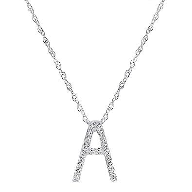 Amazon 14k white gold diamond a initial pendant 16 necklace 14k white gold diamond quotaquot initial pendant 16quot necklace mozeypictures Choice Image