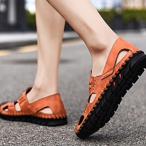 42 sandali traspiranti EU Brown da Size Brown spiaggia uomo antiscivolo 2 regolabili da 3 pelle Sandali in Color sandali YfwF76q