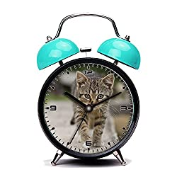 Blue Alarm Clock, Retro Portable Twin Bell Beside Alarm Clocks with Nightlight-120.Cat, Tabby, Outdoors, Animals, Cute, Kitten, Pets