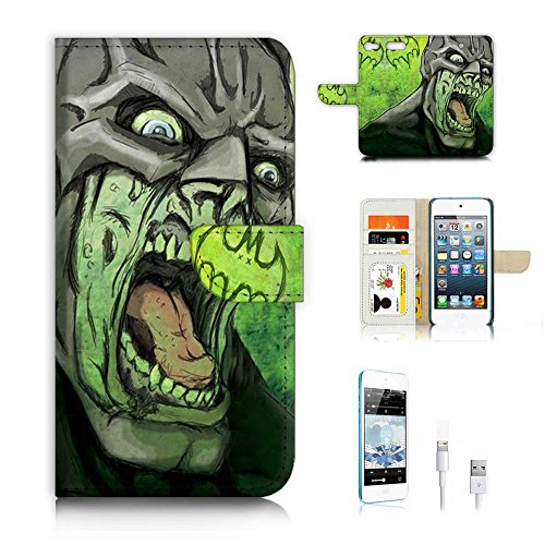 - ( For ipod 6, itouch 6, touch 6 ) Flip Wallet Case Cover & Screen Protector & Charging Cable Bundle! A6797 Zombie Batman