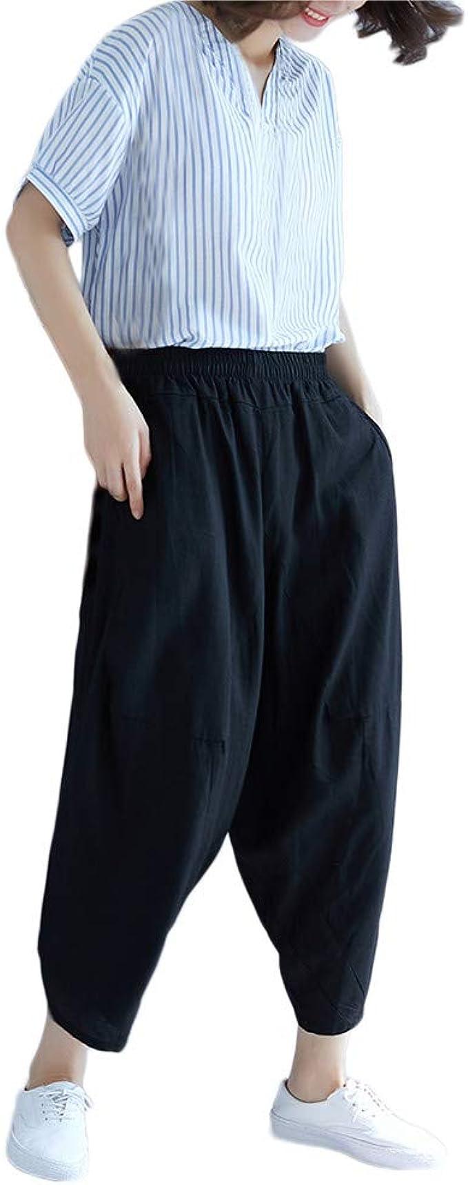 SOMESUN Pantaloni Harem Pantaloni Larghi Elastici Casual a Vita Alta Bassa Righe Da Donna Corti Sezione Sottile Lunghi Di Lino In Cotone Estivi Taglie