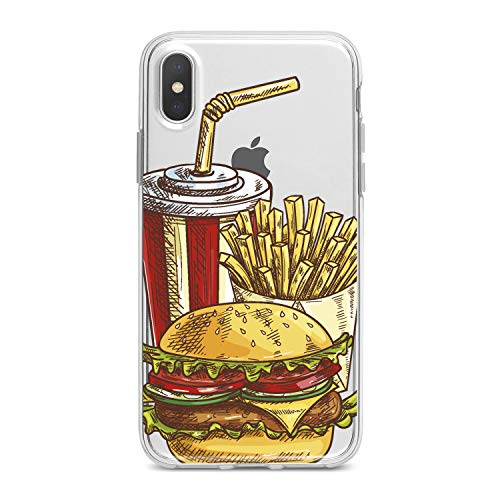 Lex Altern TPU Case for iPhone Apple Xs Max Xr 10 X 8+ 7 6s 6 SE 5s 5 Smooth Lightweight Potatoes Pattern Kids Slim fit Cola Soft Cover Burger Girl Print Food Design Clear Gift Flexible Ladies Tasty