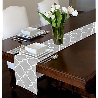 Grey & White Trellis Table Runner Mat Topper (12  x 90 )