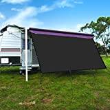 CAMWINGS RV Awning Privacy Screen Shade Panel Kit Sunblock Shade Drop 10 x 14ft, Black