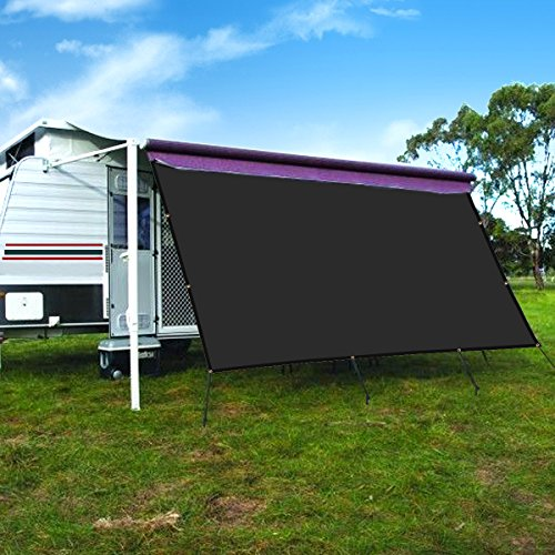 - CAMWINGS RV Awning Privacy Screen Shade Panel Kit Sunblock Shade Drop 10 x 16ft, Black